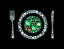 Diamond Plate With Knife And Fork Stock Image