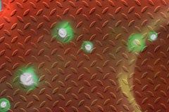 Diamond Plate Texture Background arancio e verde astratto Fotografie Stock Libere da Diritti
