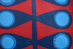 Diamond Plate Texture Background rosso e blu astratto Fotografia Stock Libera da Diritti