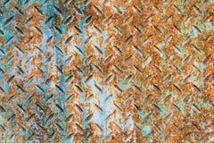 Diamond Plated Metal Sheet azul oxidado fotografia de stock royalty free