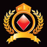 Diamond playing card suit in orange royal crest Royalty Free Stock Images