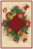 Diamond poker card in vintage style Stock Images