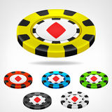 Diamond poker chip isometric set 3D object  Royalty Free Stock Images