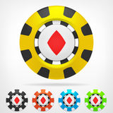 Diamond poker chip set 3D object  Stock Photos