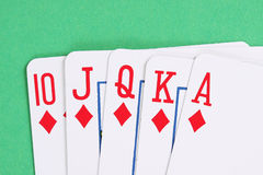 Diamond  poker royal flush Royalty Free Stock Photography