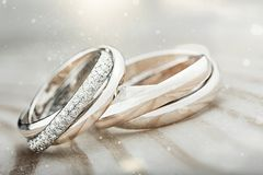 Diamond. Proposing closeup matrimony bands ceremony two Royalty Free Stock Images