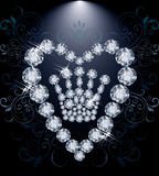 Diamond Queen crown and heart Stock Photography