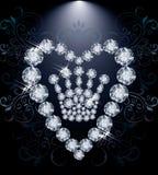 Diamond Queen krona och hjärta Arkivbild