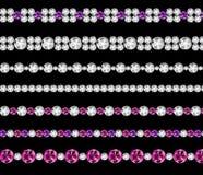 Diamond Realistic Borders Set Vector-Illustratie Stock Afbeeldingen