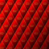 Diamond red leather pattern with crown Royalty Free Stock Photos