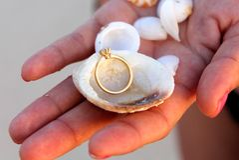 Or Diamond Ring à Shell blanc Images libres de droits