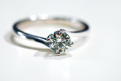 Diamond Ring 02. Isolated Diamond Ring on White Background Royalty Free Stock Photos