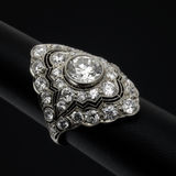 Diamond ring. Women's ornate  art deco diamond ring on black Stock Photo