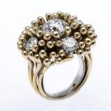 Diamond Ring. Unusual diamond ring on white Royalty Free Stock Photo