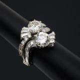 Diamond Ring. Unusual diamond ring on black Royalty Free Stock Photo