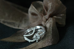 Diamond Ring. With isolated black background Stock Photo