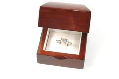 Diamond ring. Diamon platinum ring in open wooden box Royalty Free Stock Photography