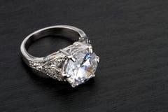 Diamond Ring. In black background Stock Photo