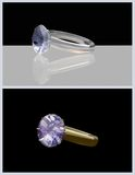 Diamond ring. Render 3d in two versions: isolated on black and placed on a plane with reflection Stock Photos