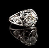Diamond ring. On black background Royalty Free Stock Photos
