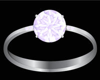 Diamond ring. Illustration of Diamond ring in a black background Royalty Free Stock Images