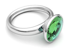 Diamond ring. Platinum ring with green diamond Royalty Free Stock Images