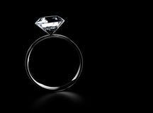 Diamond Ring. Beautiful diamond ring  on black Royalty Free Stock Image