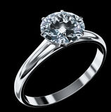 Diamond ring. (high resolution 3D render Stock Photography