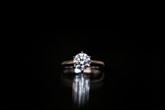 Diamond Ring. On a black background Stock Image
