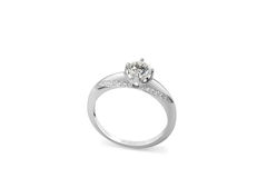 Diamond ring. Isolated on a white background Stock Photos