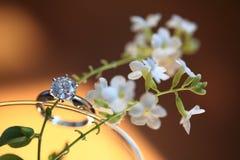 Diamond ring. With flowers Stock Photo