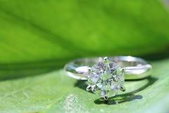 Diamond ring. Set on green leaf Royalty Free Stock Photos