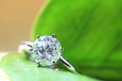Diamond ring. Set on green leaf royalty free stock image