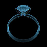 Diamond ring. (3D x-ray blue transparent isolated on black Royalty Free Stock Photo