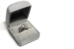 Diamond Ring. A luxurious diamond ring in a gray box Stock Photography