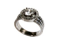 Diamond ring. Engagement ring with diamonds set in eighteen carat white gold Stock Photos
