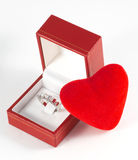 Diamond ring. In box with heart shape Royalty Free Stock Image