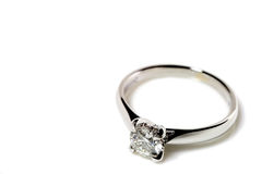 Diamond Ring. Ring with diamond on the white background Royalty Free Stock Photos