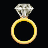 Diamond ring against black Royalty Free Stock Photo