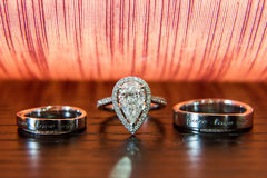 Diamond Ring. The background is a heart-shaped diamond ring boxes closeup Stock Image