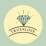 Diamond ring background with text true love Stock Images