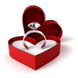 Diamond ring. Beautiful engagement diamond ring in heart shaped box Royalty Free Stock Photos
