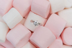 Diamond Ring. In beautiful marshmallow Stock Photo