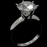 Diamond Ring Black. A diamond ring against a black background, 3d Illustration Stock Photos