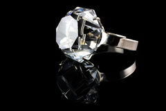 Diamond ring on black background Royalty Free Stock Images