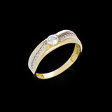 Diamond ring on black background Royalty Free Stock Images