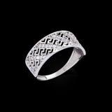 Diamond ring on black background Royalty Free Stock Photo