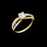 Diamond ring on black background Royalty Free Stock Photography