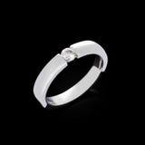 Diamond ring on black background Stock Images