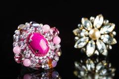 Diamond Ring in black background Royalty Free Stock Photos